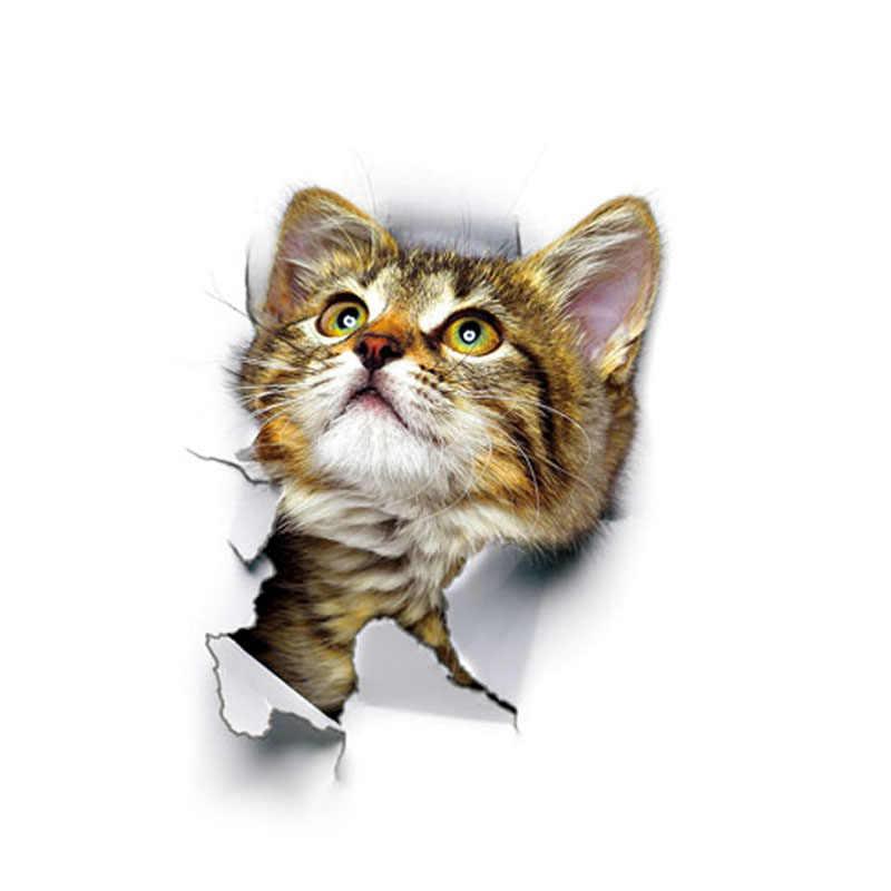 Lubang Melihat Kucing Anjing 3D Stiker Dinding untuk Kamar Mandi Toilet Anak-anak Kamar Dekorasi Dinding Decals Stiker Kulkas Tahan Air Poster