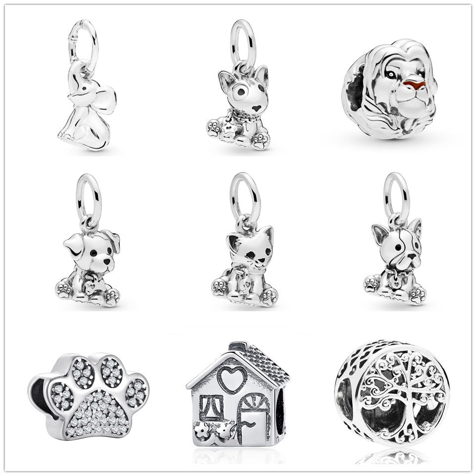 Fit Original Pandora Charms Bracelet 925 Sterling Silver happy Labrador dog cat pendant Charm Bead DIY Jewelry Making Berloque(China)