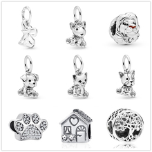 Silver charm happy bull dog cat Beads pendant Fit Pandora Charms silver 925 Bracelets for Women New Fashion Jewelry DIY trinkets