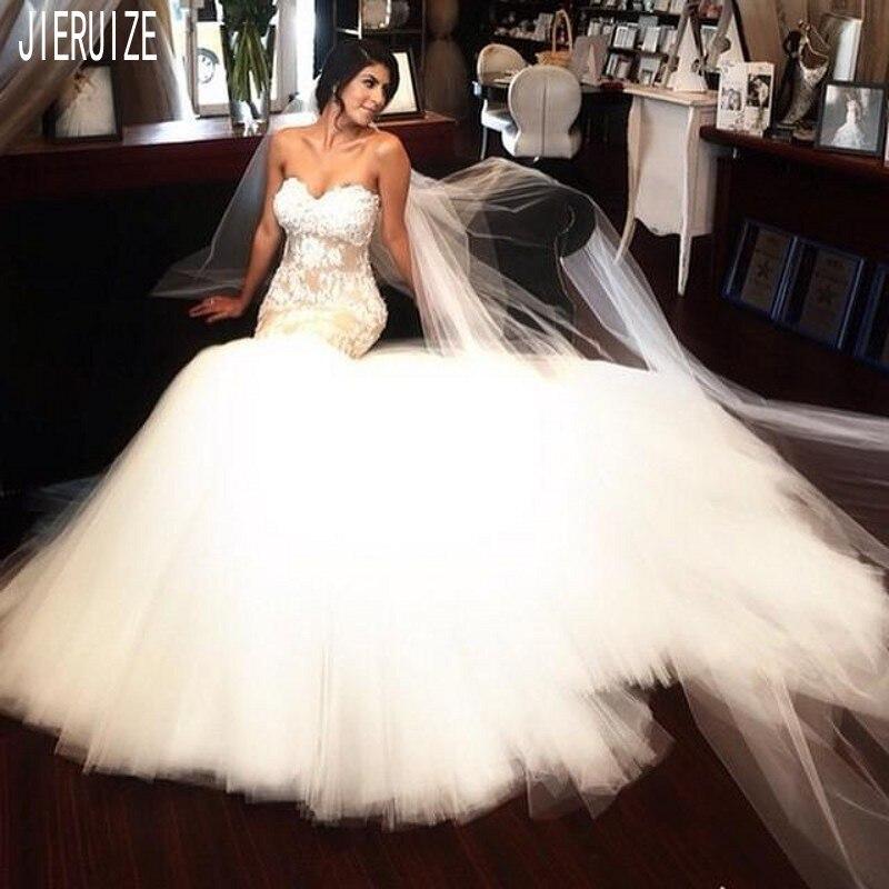 JIERUIZE Gorgeous Mermaid Lace Wedding Dresses With Appliques Long Bridal Dresses For Women Vestido De Novia Lace Up Back
