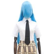 Xnaira 38 inç 100cm uzun Cosplay Lolita peruk Afro maç kolay Anime parti Ombre sarı sentetik peruklar için patlama ile kadın