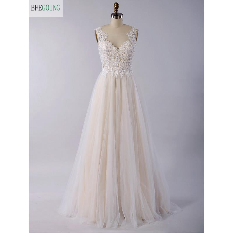 Ivory Lace Tulle Scoop Sleeveless Floor-Length A-line Wedding Dress V-Back Custom Made