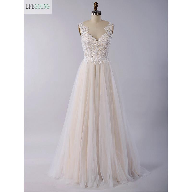 Ivory Lace Tulle Scoop Sleeveless Floor-Length A-line Wedding Dress V-Back Custom Made