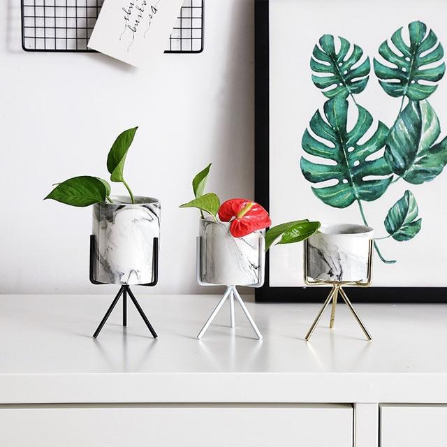 Nordic Ins Minimalist Vase Fleshy Flowerpot Marble Pattern Ceramic Wrought Iron Vase Flower Pot Home Mariage Living Room Decor 1