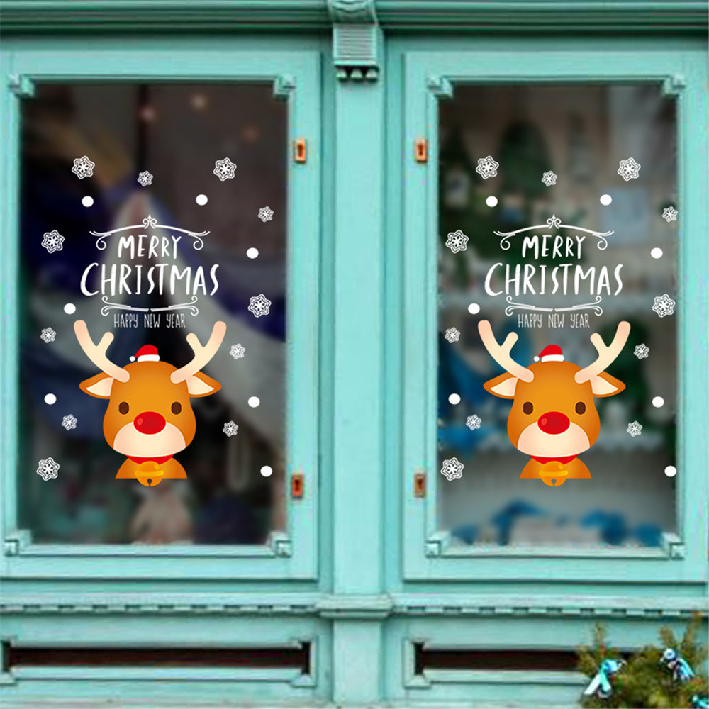 Merry Christmas Household Room Deer Wall Sticker Mural Decor Decal Removable