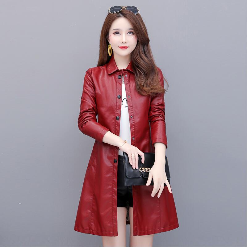 Plus Size Black   Leather   Coat Women 2019 New   Leather   Jacket Women Long Slim Spring And Autumn Motorcycle Female   Leather   Clothing