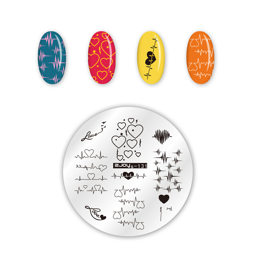 Valentines Day Stencil Nail Art Stamping Heart Single Love Theme Design DIY Manicure Stamp Template Image Plate Stencils