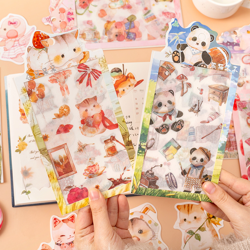 4 Sheets/pack Lovely Hamster Unicorn Decorative Stickers Scrapbooking Stick Label Diary Stationery Album Stickers