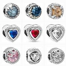 Jewelry Charms Zircon Bracelets Diy Flower Sparkling Love-Beads Silver-Color Original Pandora