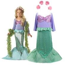 Штаны для девочек с рождественским изображением маленькой комплект Русалка платье принцессы для девочек детская одежда Карнавальный кост...