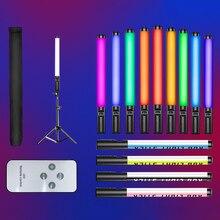 RGB el LED ışık değnek renkli fotoğraf aydınlatma sopa 10 modları şarj edilebilir fotoğraf stüdyosu dolgu lamba Youtube Video
