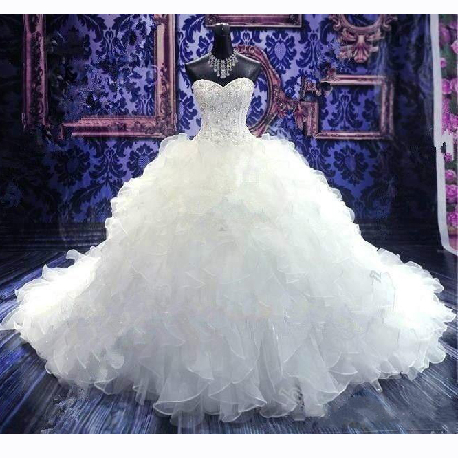 2019 Luxury Beaded Embroidery Ball Gown Wedding Dresses Sweetheart