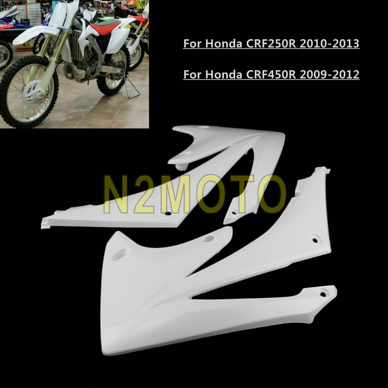 White Motorcycle <font><b>Plastic</b></font> Front Side Radiator Shrouds for Honda CRF250R CRF450R <font><b>CRF</b></font> 250 <font><b>450</b></font> R 2009-2013 image