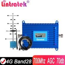 Lintratek 4G 700 전화 신호 중계기 Ampli LTE 700Mhz Band28 셀룰러 부스터 유럽 용 AGC 70dB LTE 핸드폰 증폭기