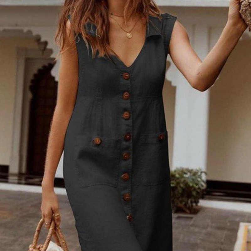 Womens Mouwloze Single Breasted Losse Jurk V-hals Fashion Solid Ol Jurken Vrouwelijke 2020 Lente Elegante Casual Lady Kleding