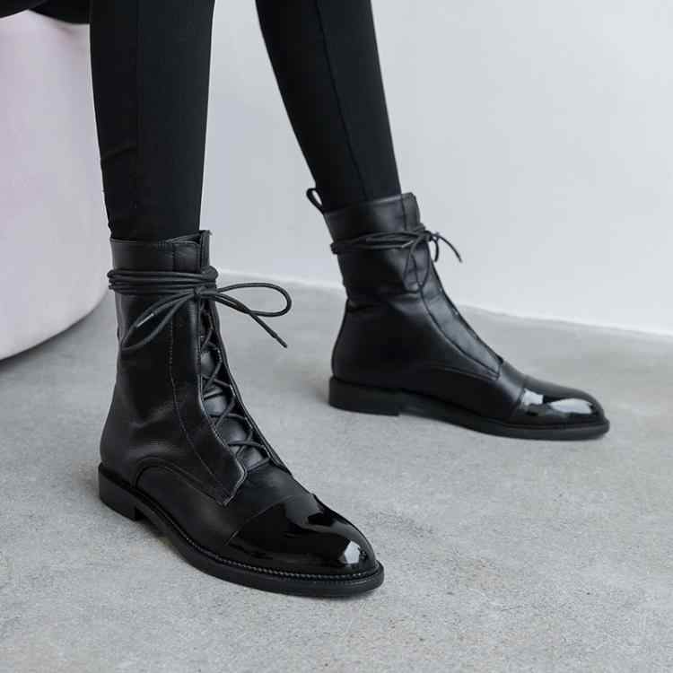 South Korea 100 British comfortable tie leather tip low heel Martin boot woman flat bottom short boot