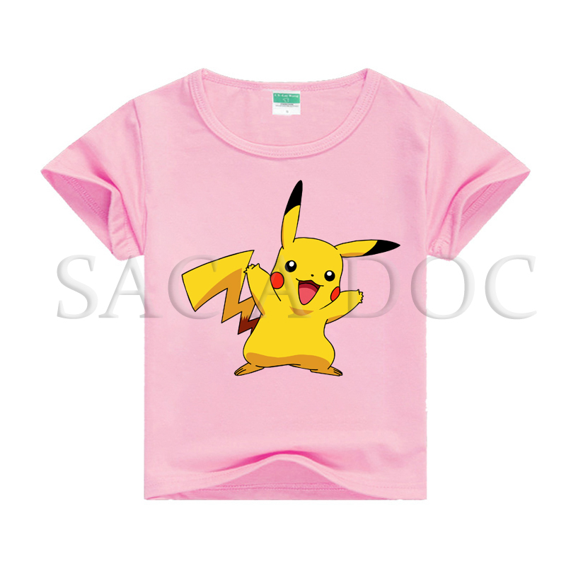 Pokemon Pikachu Children T Shirt Kids Boys Girls Summer Clothes 100% Cotton Tees Newest Baby Summer T- Shirts Casual Tee Shirts image