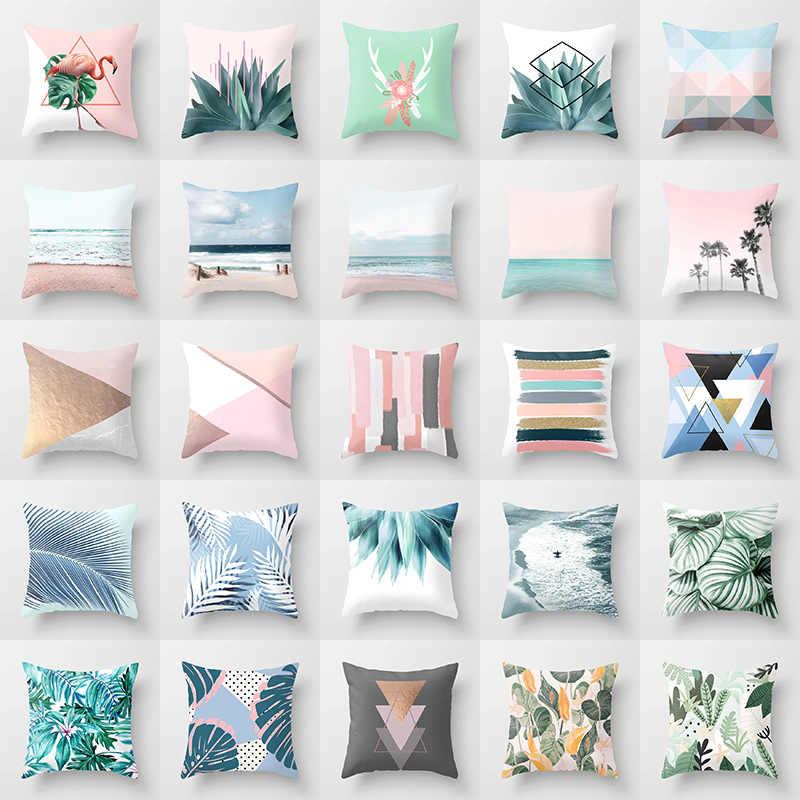 Skandynawski różowy geometryczny zielony niebieski poszewki na poduszki poliester nowoczesna plaża tropikalne rośliny okładka na poduszki z nadrukiem Sofa krzesła samochodowe