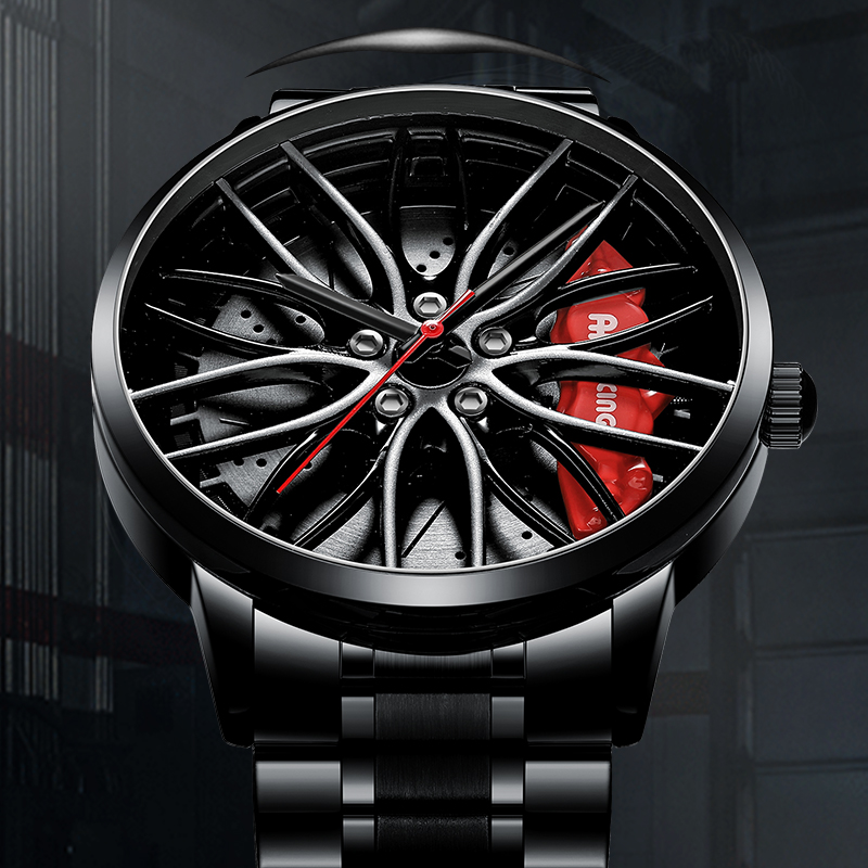 NEKTOM Wheel Rim Hub Watches Men Custom Design Sport Car Rim Hub Men Watch Stainless Steel Waterproof Creative Relogio Masculino