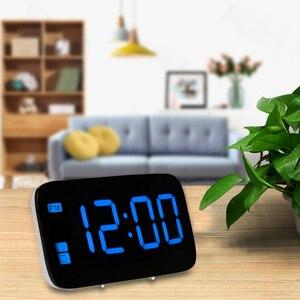 Lustrzany budzik LED zegar ze ściemniaczem funkcja drzemki temperatury do sypialni biuro podróży cyfrowy zegar dekoracyjny do domu