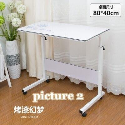 Домашний простой стол для ноутбука портативный легкий подъем подвижный настольный компьютерный стол ленивый прикроватный столик серповидный обеденный стол с грузовиками - Цвет: picture 2