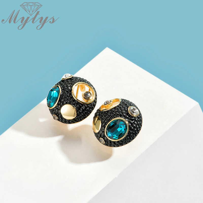 Mytys w stylu Vintage stylowe kolczyki czarny kolor okrągły z pusta dziura kolczyki z niebieskim kryształem Cocktail Party moda biżuteria CE610