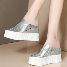 Женские туфли из натуральной кожи на танкетке с круглым носком