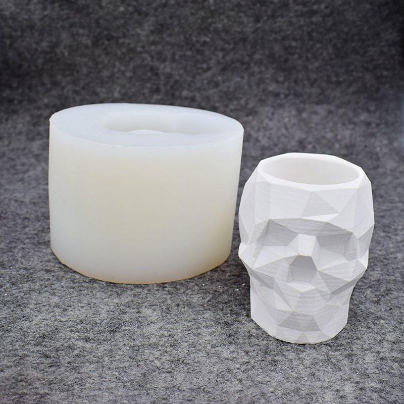 Modern Resin Skull Head Flower Pot Mold Geometric Skull Concrete Pen Holder Mold