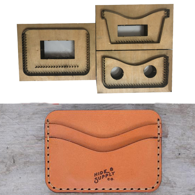 Japan Steel Blade mould DIY leather card holder bag set hand punch tool knife mould wooden die Leathercraft Tool set 105x80mm