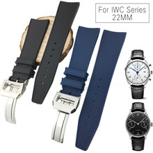 22mm New Style Rubber Silicone Watch Strap Soft Waterproof Watchband Suitable for IWC PILOT PORTUGIESER Series Watch for Men(China)