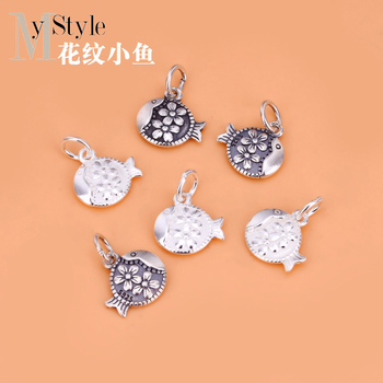 Jewelry DIY accessories S925 pure silver pattern flower small fish pendant national style boudoir Jewelry Necklace image