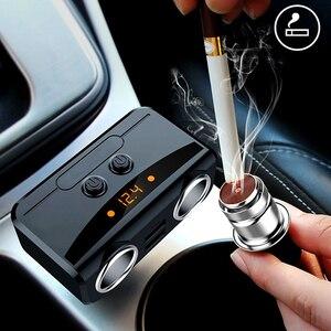 2 гнезда автомобильный прикуриватель многофункциональное автомобильное быстрое зарядное устройство двойной USB DC 12V до 24V дисплей напряжени...