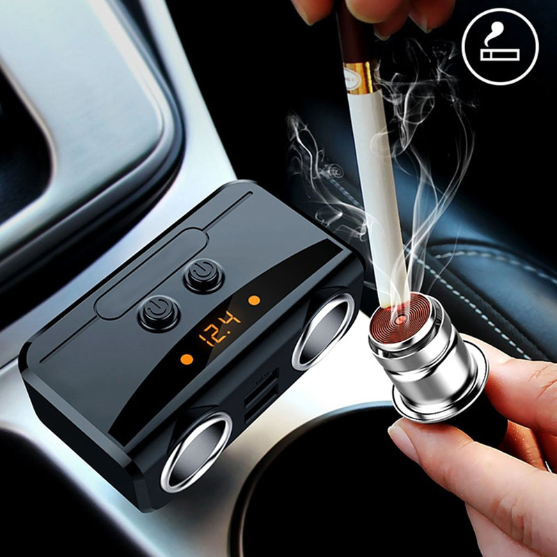2 Sockets Auto <font><b>Cigarette</b></font> Lighter Multi-function <font><b>Car</b></font> Quick <font><b>Charger</b></font> Dual USB DC <font><b>12V</b></font> to 24V Voltage Display For iPhone iPad Samsung image