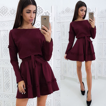 Ruffles Embellishment Sashes A-Line Women Dress Autumn Solid Color Long Sleeves Round Neck Casual Dress Mini Party Dresses purple geometrical pattern round neck long sleeves christmas dress