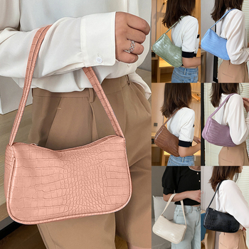 fashion design ladies baguette purse handbags crocodile pattern pu leather women small shoulder bags vintage female underarm bag Crocodile Pattern Women Underarm Bag Vintage Design PU Leather Ladies Small Shoulder Bags Female Tote  Purse Handbags