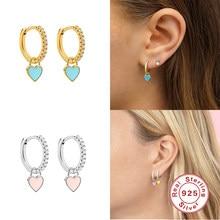 Boako 925 Sterling Zilveren Oorringen Met Leuke Candy Neon Kleur Enamel Hart Charm Drop Earring Goud Zilver Kleur Voor meisjes