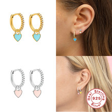 Aide 925 Sterling Silber Hoop Ohrringe Mit Nette Candy Neon Farbe Emaille Herz Charme Tropfen ohrring Gold Silber Farbe Für mädchen