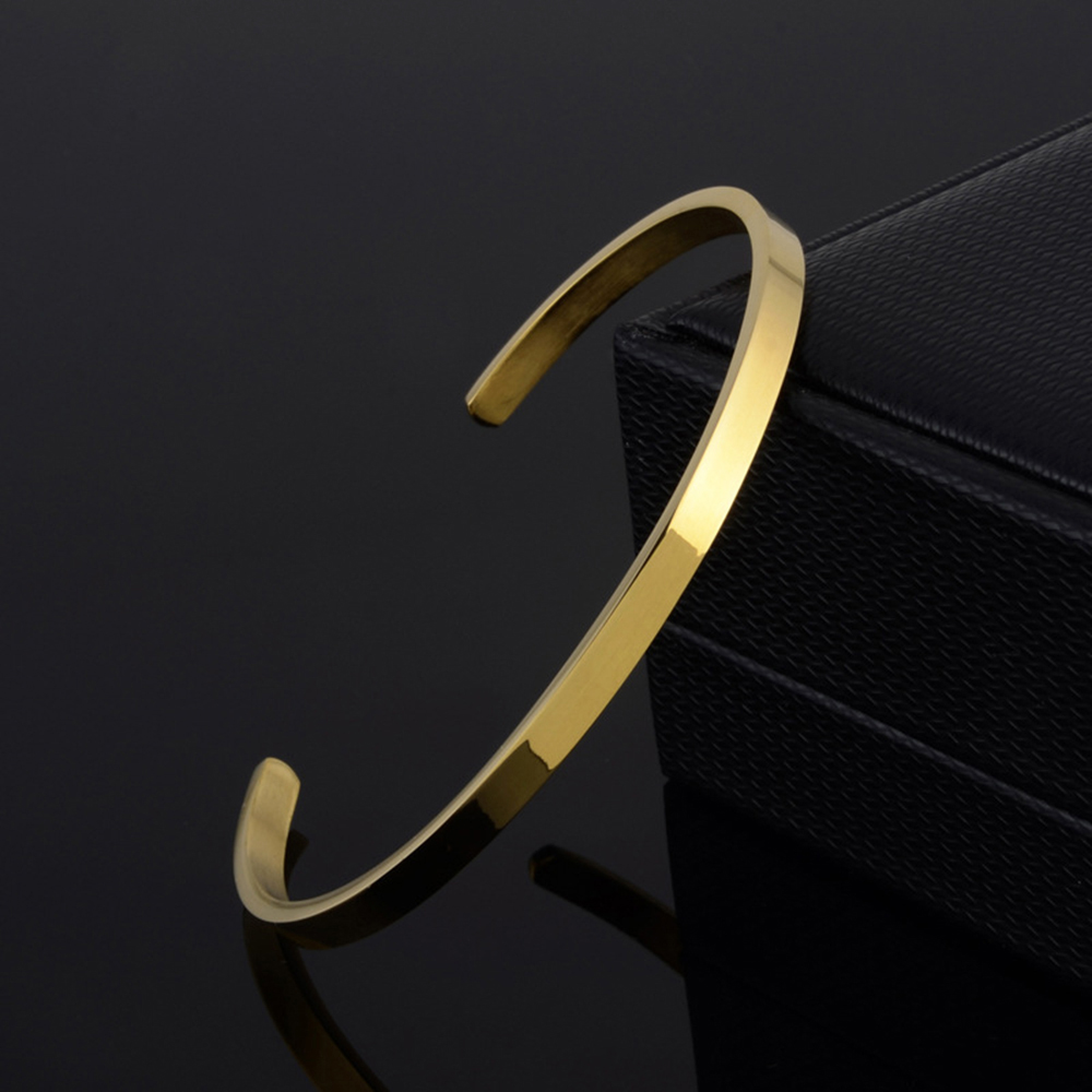 Delicate 4mm Thin Charm Open Cuff Bangles Stainless Steel Elegant Gold Black Silver Rose Gold Men Women Quality Bracelets Gift