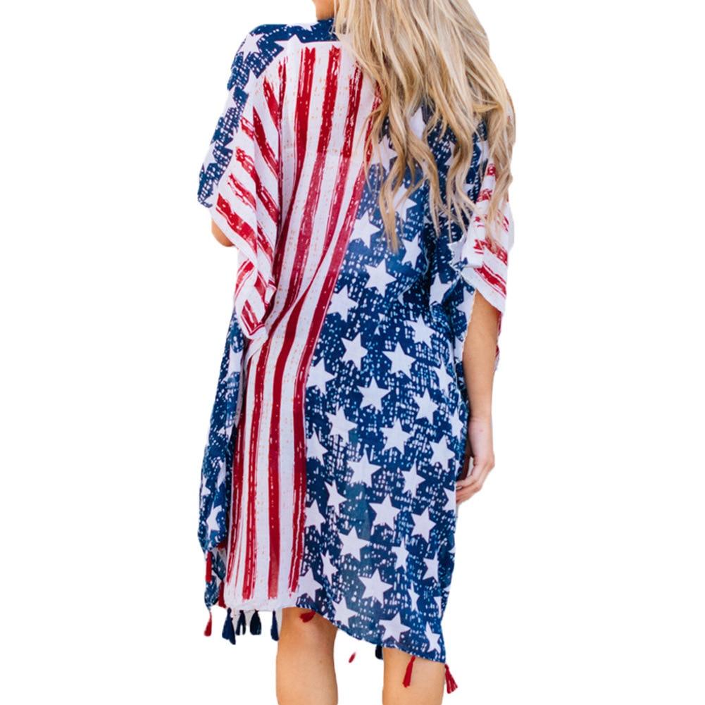 women blouse fashion female womens top shirt usa america flag freedom print star autumn festivalsladies clothing long top korean