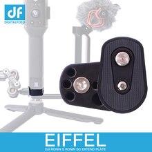 """Placa de ampliación inferior de cardán de cámara EIFFEL para monitor de montaje, micrófono, luz LED 1/4 """"3/8"""" orificio de tornillo para Ronin S/SC Crane 2"""