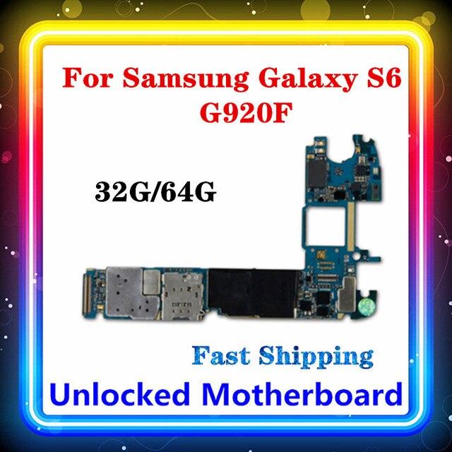 삼성 갤럭시 S6 G920F 마더 보드 오리지널 대체 클린 로직 보드 안드로이드 시스템 전체 칩 메인 보드 32gb/64gb