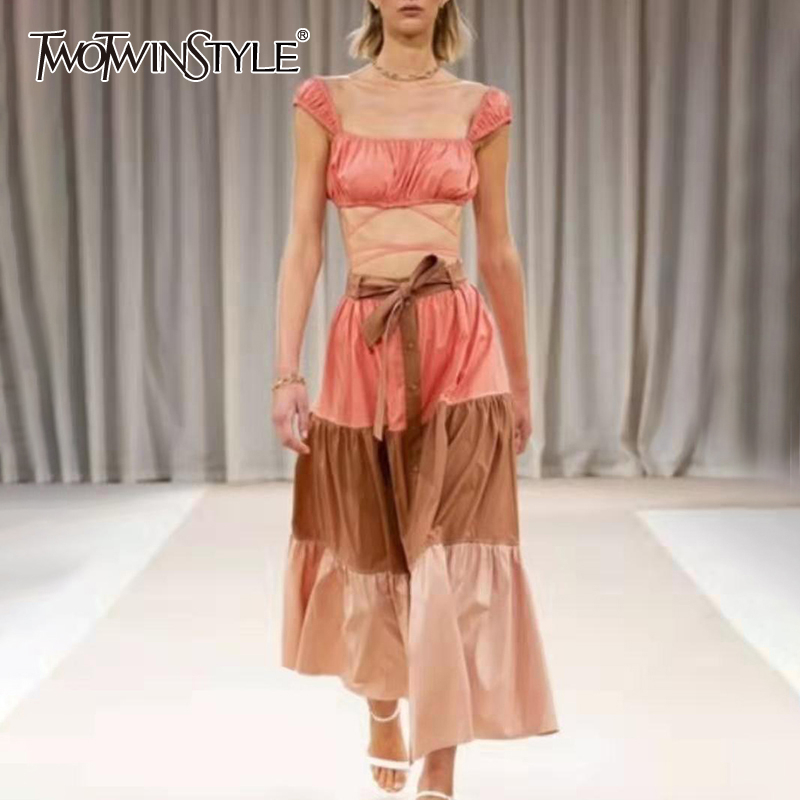 TWOTWINSTYLE Ruched Two Piece Sets For Female Square Collar Short Top High Waist Lace Up Hit Color Skirt Casual Suits Women Tide