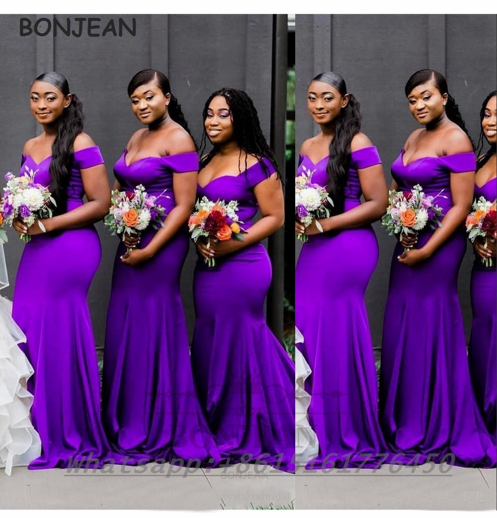 Purple Bridesmaid Dresses Mermaid 18 Off The Shoulder Elastic ...