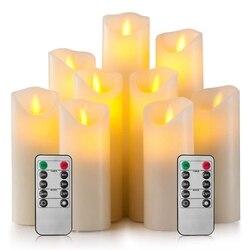 Беспламенные Свечи на батарейках свечи 4 дюймов 5 дюймов 6 дюймов 7 дюймов 8 дюймов 9 дюймов набор из 9 слоновой кости настоящий воск столб свет...