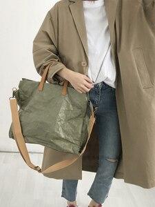 Image 2 - Latest Women Handbags Lady Shoulder Bag Top Kraft Paper Totes Messenger Bag Washable Tear resistant Unique Light Fashion Bag