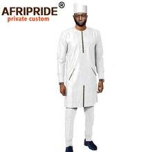 Африканская одежда для мужчин длинные пальто брюки шапка комплект