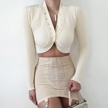 Autumn New Fashion WomenS Sexy Open Navel Knitted Sweater Short Top V-Neck Long Sleeve Slim Knit Cardigan Age Reduction