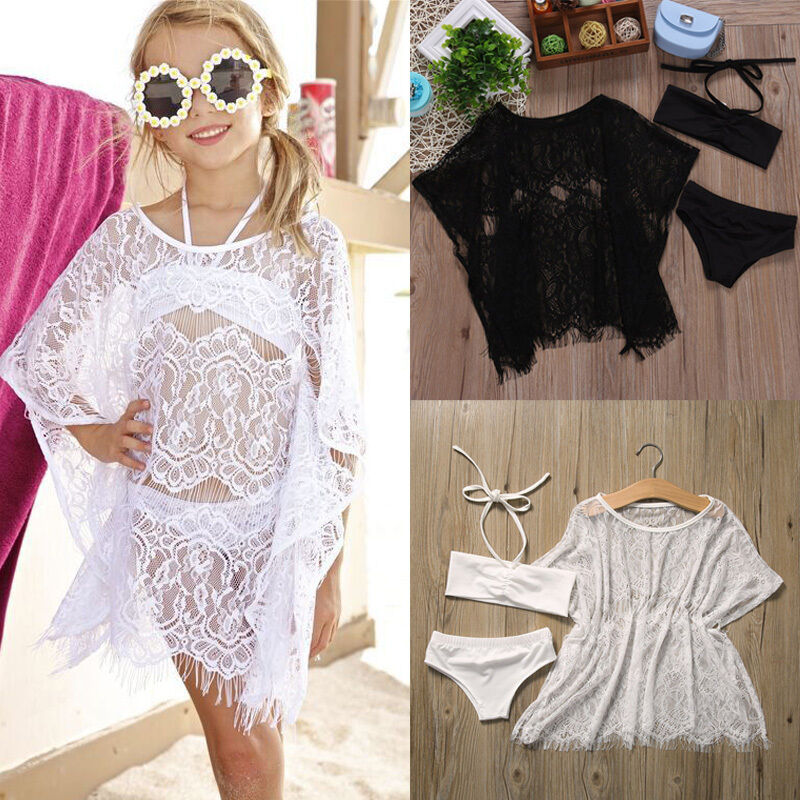 1-6T Girls Swimsuits 3pcs Set 2020 Swimsuit Girls Swimming Beach Dress Cover Ups Girls Swimwear Flower Lace Beachwear Bikini Set