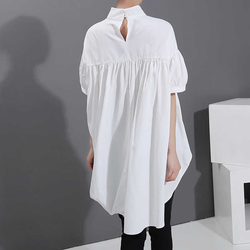 2020 한국 스타일 여성 여름 세련된 탑 솔리드 화이트 블라우스 셔츠 Draped 디자인 플러스 사이즈 Casual Blusas Feminine Shirt 6042