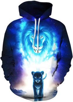 Men's Pullover Hoodie Galaxy Animal 3D Print Hooded Sweatshirts Unisex (2X-Large - 3X-Large, 2 Lions) 3d galaxy tree print pullover hoodie